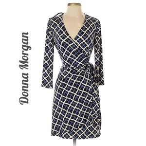 Donna Morgan blue check wrap dress size 8 petite